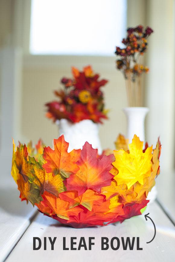 DIY fall decor: leaf bowl