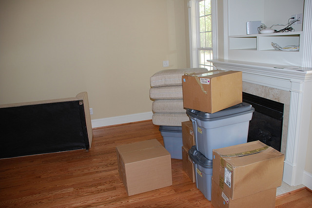 packed boxes in empty house