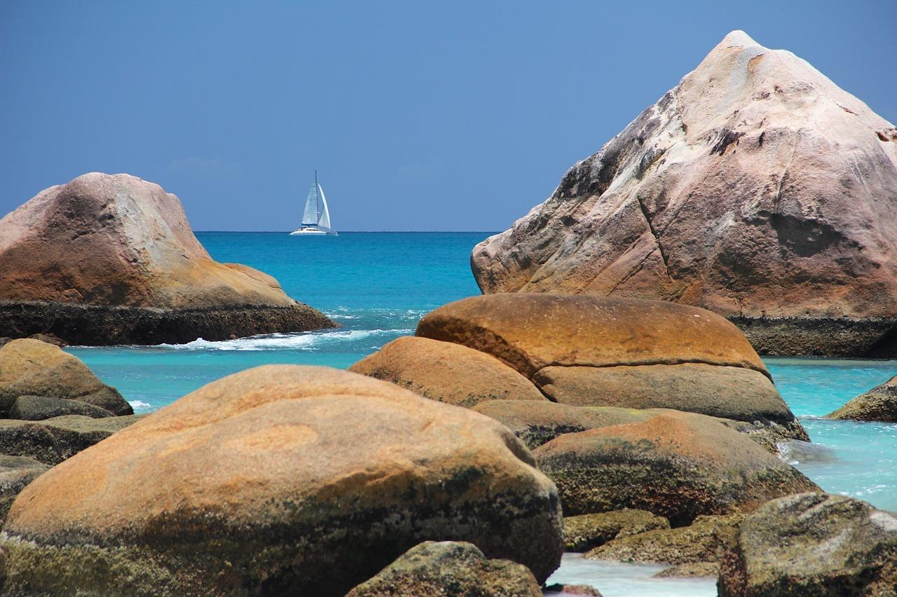 Sailboat and beach