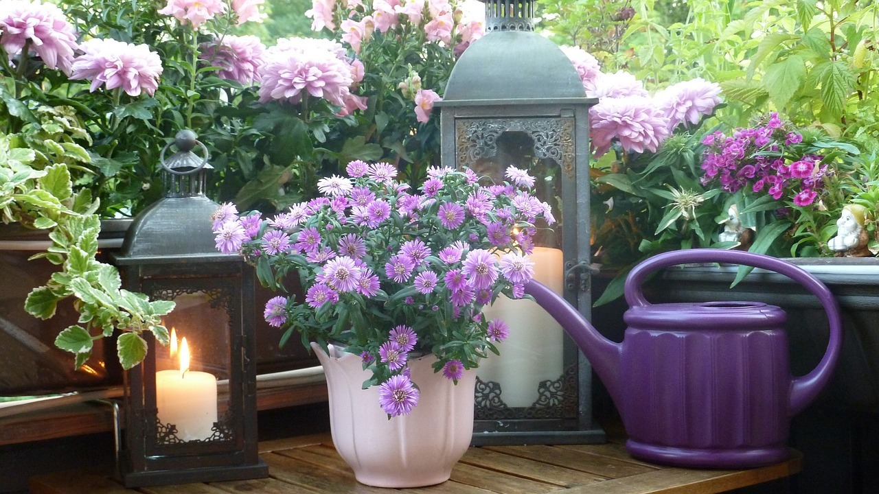 Purple Flowers And Plants With Candles For Balony Patio Decor
