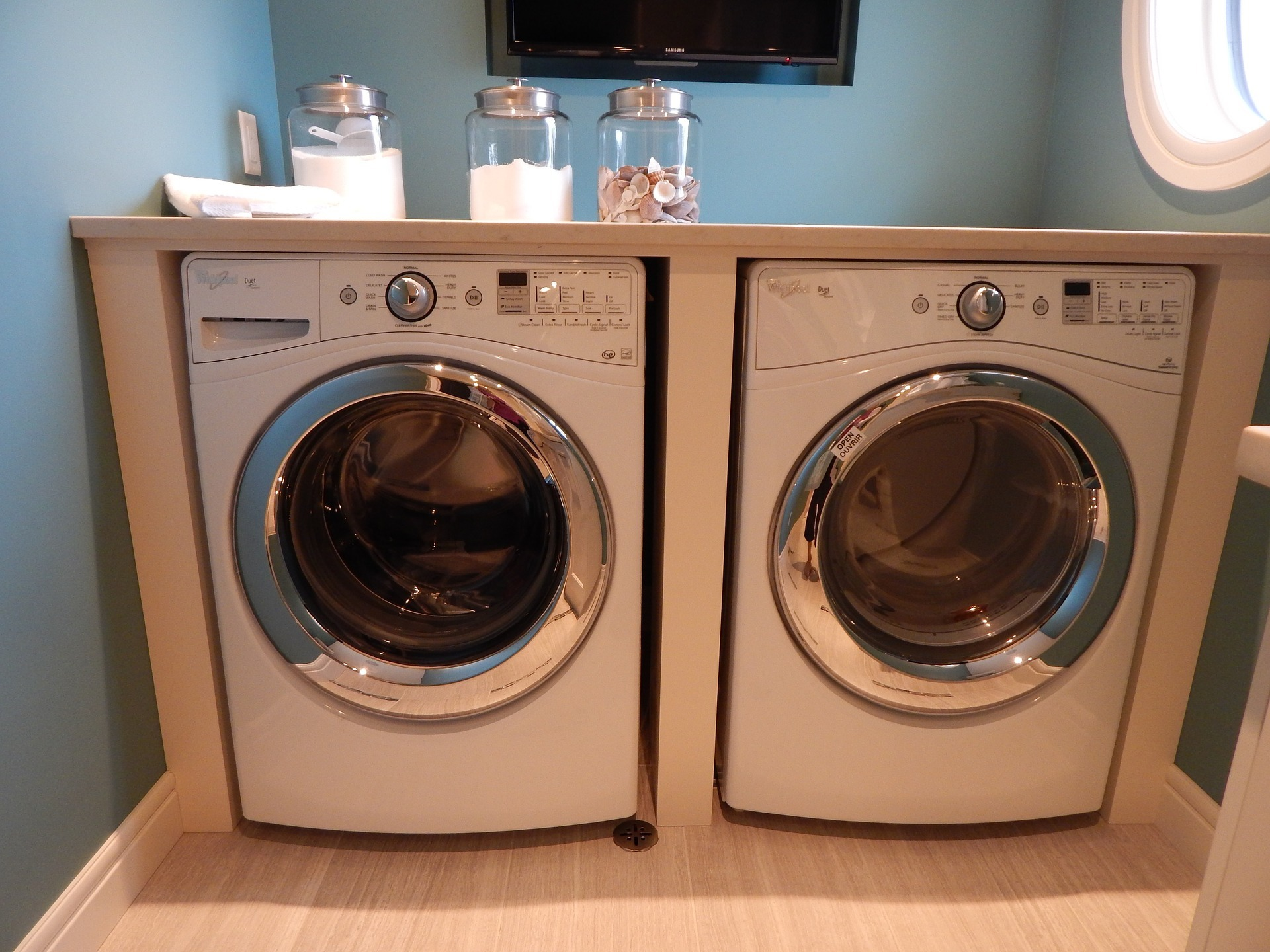 Add Storage Above The Washer And Dryer.