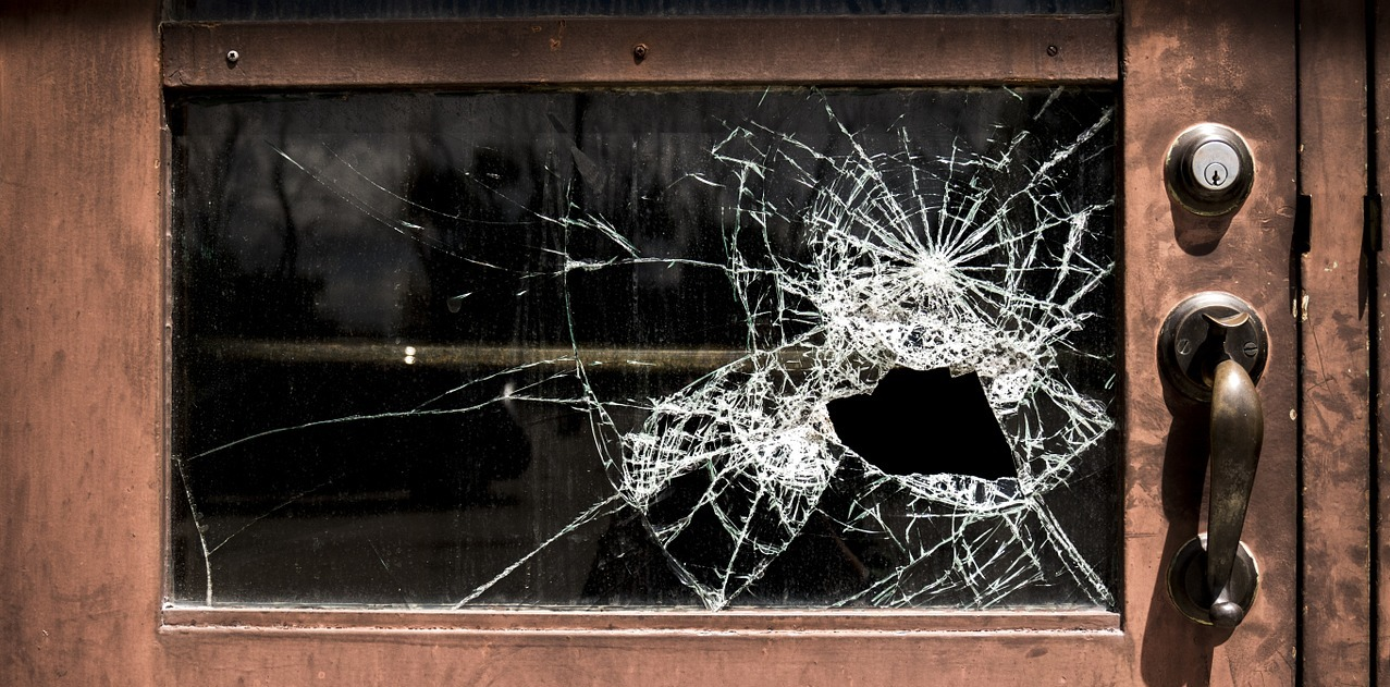 Thieves break glass to gain entry.