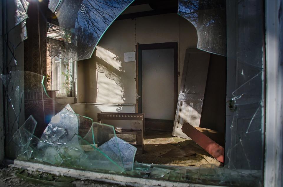 broken window and home