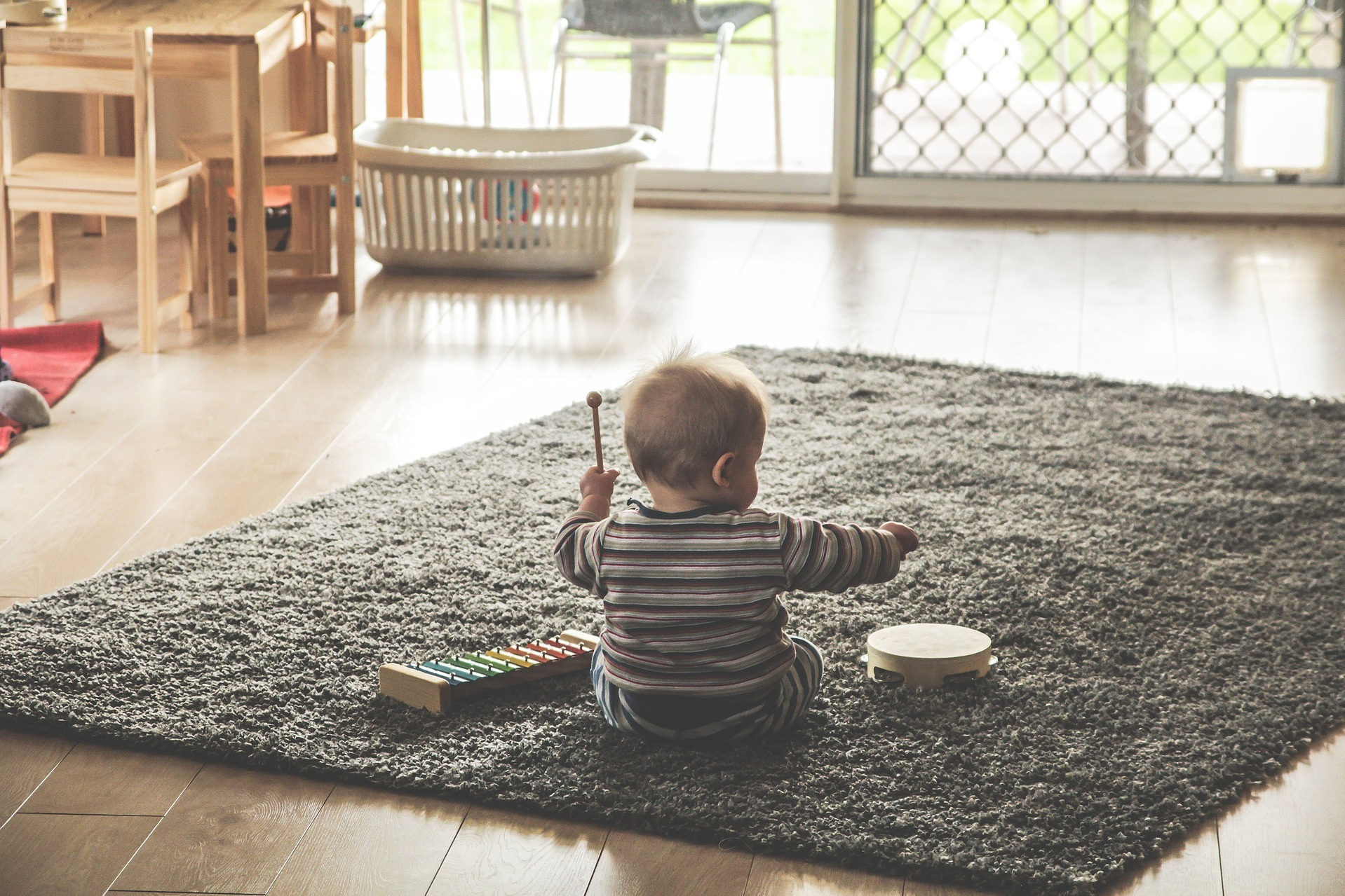 child playing instruments