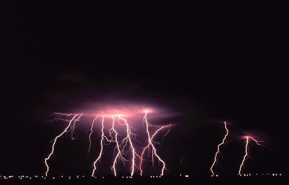 lightning storm with thunder