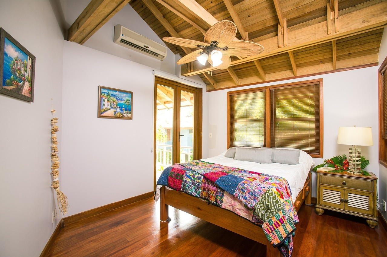 A bedroom in a guest house.