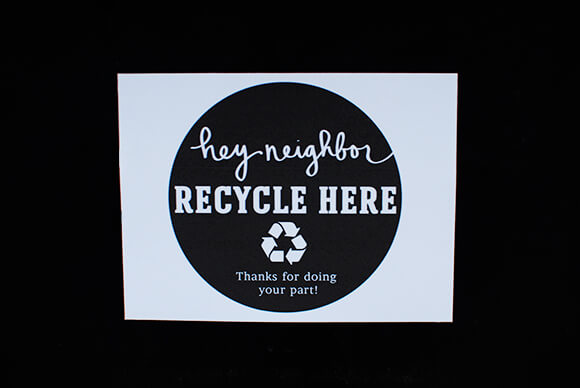 recycle-here-neighborhood-sign