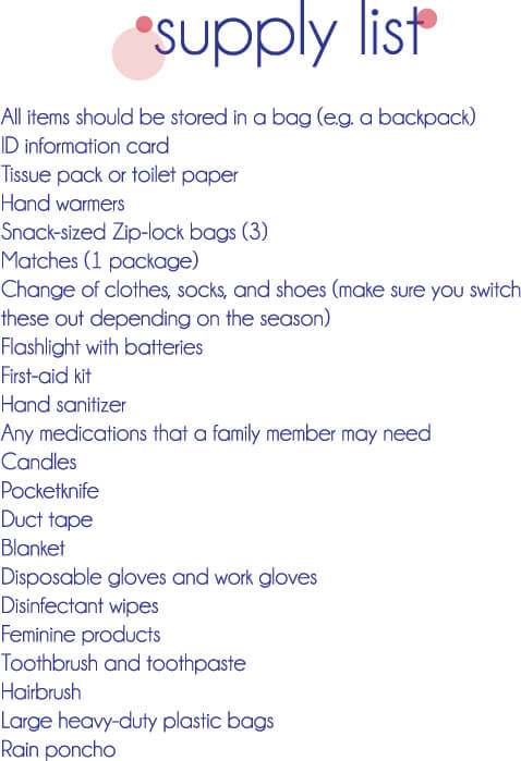 72 hour kits list supplies